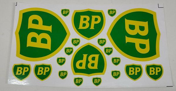 """DECAL AUFKLEBERBOGEN """"BP"""", 21,5 x11,5 CM, FÜR 1:8, 1:10 UND 1:12 # 80015"""