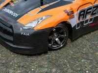 "RC CAR KAROSSERIE 1:10 ""NISSAN SKYLINE GTR R35"" DRIFT IN NEON ORANGE # JLR45"