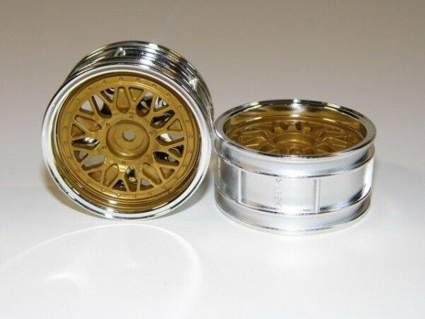 TAMIYA TOURENWAGEN FELGEN 2-TEILIG 1:10 CHROM / GOLD 26mm # 300050548