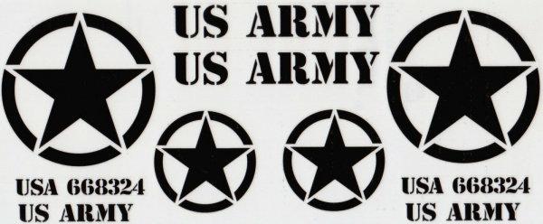 """DECAL AUFKLEBERBOGEN """"US ARMY"""" SCHWARZ VORAUSGESCHNITTEN FÜR RC 1:10 1:8 # 80055"""