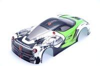 """RC CAR KAROSSERIE 1:10 """"EXO GT"""" IN GRÜN SCHWARZ FÜR TAMIYA TT01/TT02 & CARTEN 190mm BREITE # JLR02"""