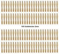 GOLDKONTAKTE GOLDSTECKER GOLDBUCHSEN 2mm 3,5mm 4mm 5mm 5,5mm - WÄHLEN SIE AUS !(2mm Stecker (100 St.))