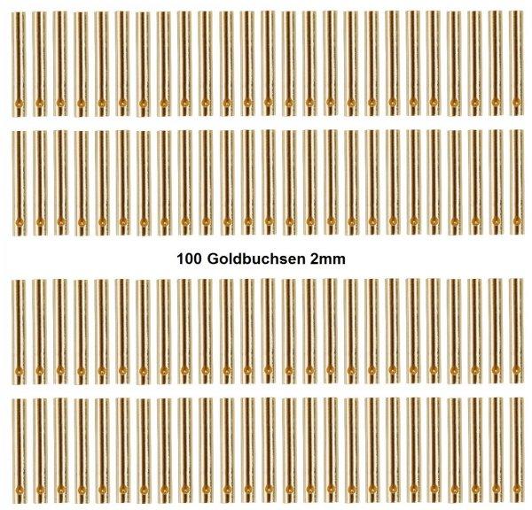 GOLDKONTAKTE GOLDSTECKER GOLDBUCHSEN 2mm 3,5mm 4mm 5mm 5,5mm - WÄHLEN SIE AUS !(2mm Buchsen (100 St.))