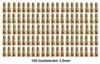 GOLDKONTAKTE GOLDSTECKER GOLDBUCHSEN 2mm 3,5mm 4mm 5mm 5,5mm - WÄHLEN SIE AUS !(3,5mm Stecker (100 St.))