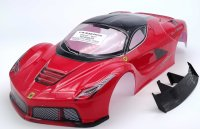 """RC CAR KAROSSERIE 1:10 """"EXO GT"""" IN ROT SCHWARZ FÜR TAMIYA TT01/TT02 & CARTEN 190mm BREITE # JLR01"""