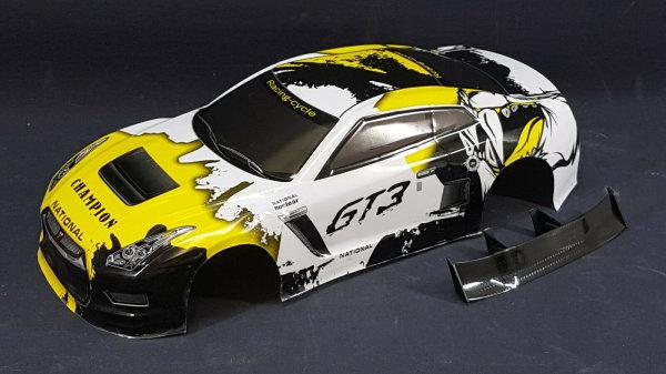 "RC CAR KAROSSERIE 1:10 ""NISSAN GTR R35"" GELB WEISS, DRIFT 190mm BREITE # JLR29"