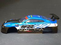 "RC CAR KAROSSERIE 1:10 ""NISSAN SKYLINE GTR R35"" DRIFT IN BLAU SCHWARZ # JLR46"