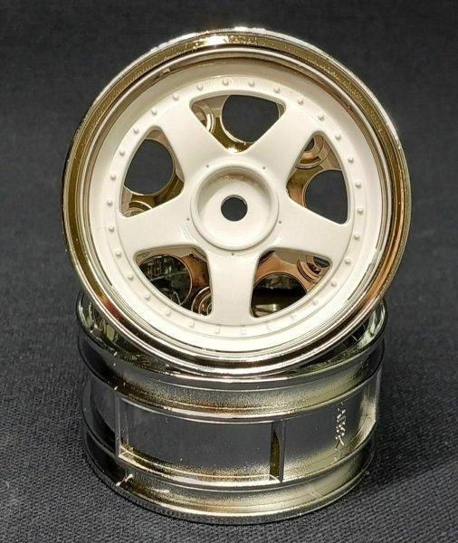 TAMIYA TOURENWAGEN FELGEN 5-SPEICHEN 2-TEILIG 1:10 CHROM/WEISS 26mm # 300050672